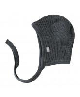 Grey winter wool baby hat