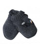 Grey winter wool mittens
