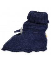 Blue wool fleece booties