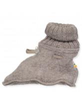 Beige wool fleece booties