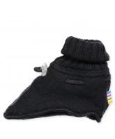 Black wool fleece booties