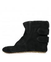 Black wool slippers