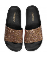 Gold glitter slippers