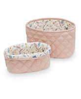 Organic rose quilted baskets