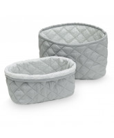 Organic grey quilted baskets