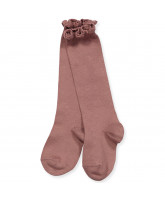 Taupe knee socks with lace