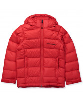 Red down winter jacket