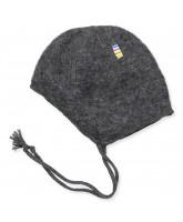 Grey wool fleece baby hat