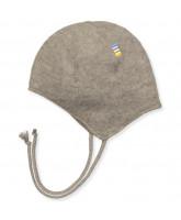 Beige uld fleece baby hat