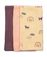 3 pack rainbow muslin cloths
