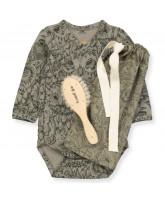 Organic Owl bodysuit and hairbrush
