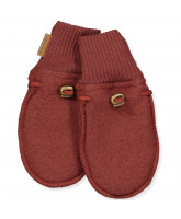 Madder brown wool fleece mittens