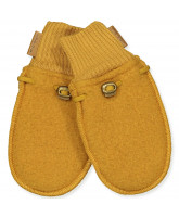 Golden brown wool fleece mittens
