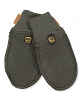Black olive wool fleece mittens