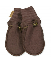 Puce brown wool fleece mittens