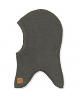 Black olive wool fleece kids' balaclava