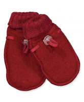 Red wool fleece mittens