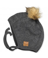 Anthracite melange wool fleece baby hat