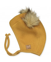 Golden brown wool fleece babyhat
