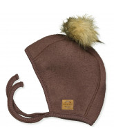 Puce brown wool fleece babyhat