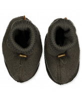 Black olive wool fleece booties